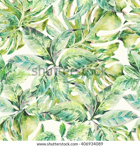 Natural leaves exotic watercolor seamless pattern, green tropical leaves, botanical summer illustration on white background - stock photo