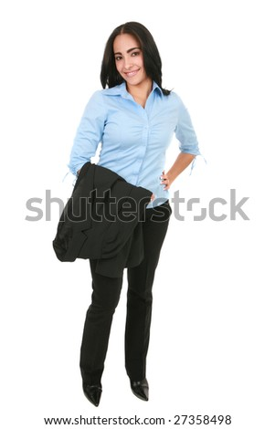 Natural Looking Happy Smiling Hispanic Businesswoman Standing - stock photo