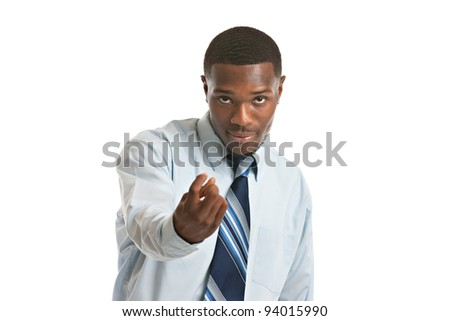 Natural Looking Smiling Young African American Businessman on Isolated Background - stock photo
