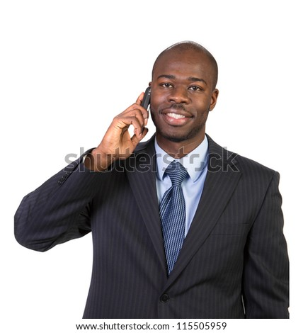 Natural Looking Smiling Young African American Male Model on Isolated Background - stock photo