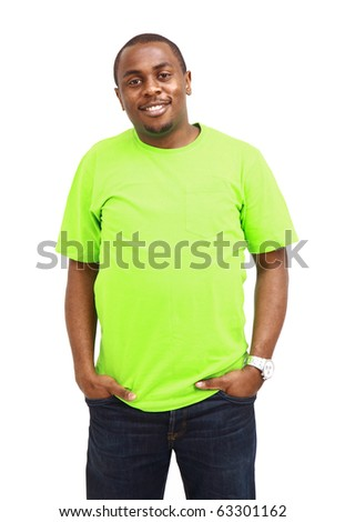 Natural Looking Smiling Young African American Male Model on Isolated Background