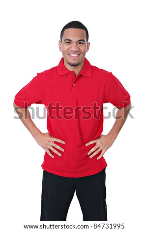 Natural Looking Smiling Young African American Male on Isolated Background - stock photo