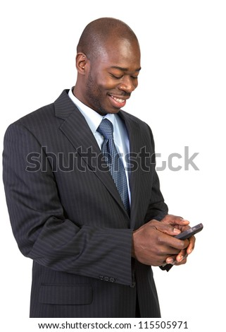 Natural Looking Young African American Male Texting on Isolated Background - stock photo