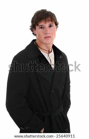 Natural Looking Young Male Fashion Model on Isolated White Background - stock photo