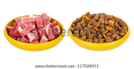 Natural meat dog food or dry food - stock photo