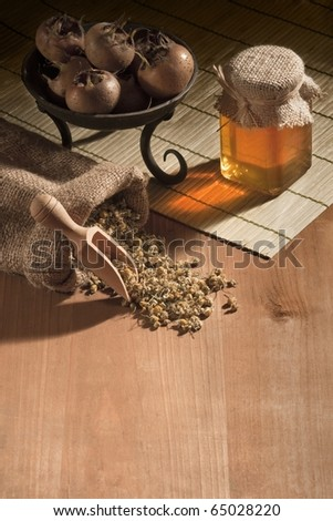 natural medicines on wooden basis - stock photo