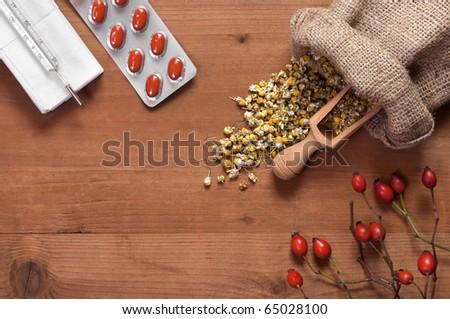 natural medicines vs pill - stock photo