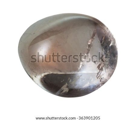 natural mineral gem stone - Smoky quartz (smoky topaz) gemstone isolated on white background close up - stock photo