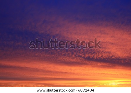 Natural morning sunrise sky with beautiful clouds - stock photo