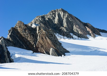 Natural mountain landscape with snow and clear blue sky - stock photo