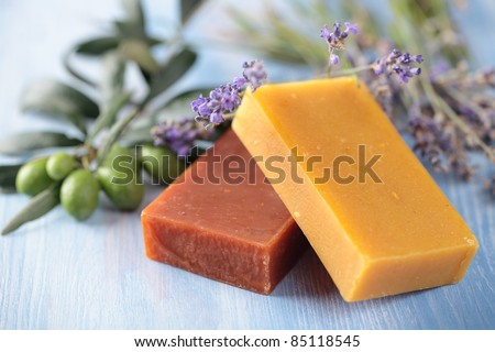 Natural olive oil soap and lavender - stock photo
