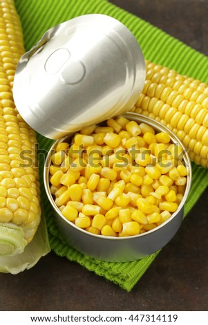 Natural organic canned corn in the pot - stock photo