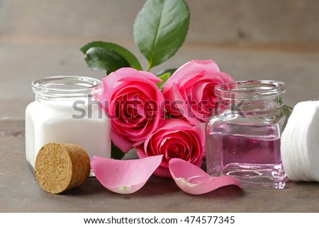 Natural organic cosmetics cream and rose water