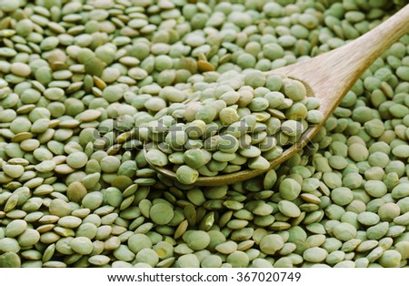 Natural organic green lentils for healthy food - stock photo