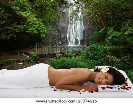 Natural outdoor massage - stock photo