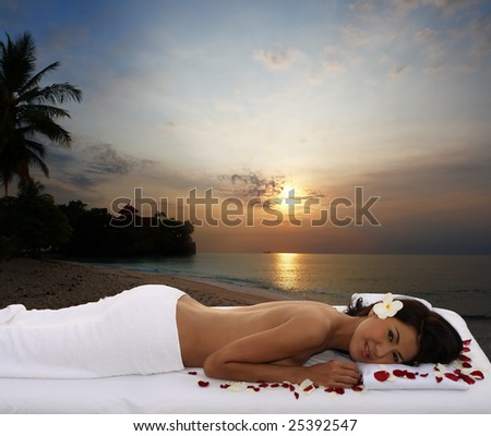 Natural outdoor spa & massage - stock photo