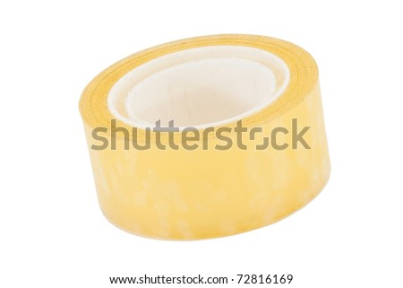 Natural packing scotch tape on white background - stock photo