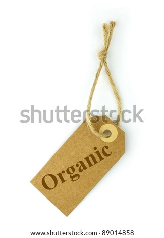 """Natural paper label and brown """" organic """"  text - stock photo"""