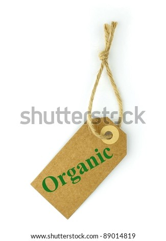 """Natural paper Label and green """" organic """" text - stock photo"""