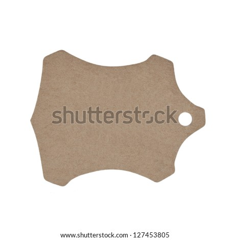 Natural paper label, isolated on white background - stock photo