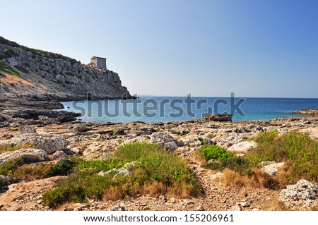 Natural park of Porto Selvaggio in Salento, Apulia. Italy. - stock photo