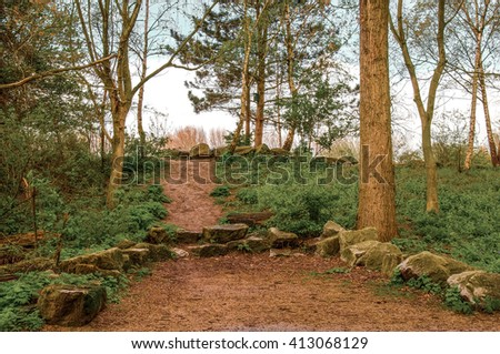 Natural pathway in a recreation area. Well designed with rocks and surrounding trees.