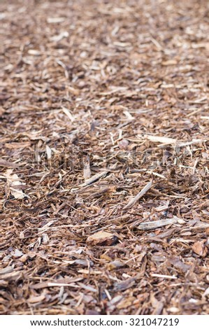 Natural pine tree bark used as a soil covering for mulch - stock photo