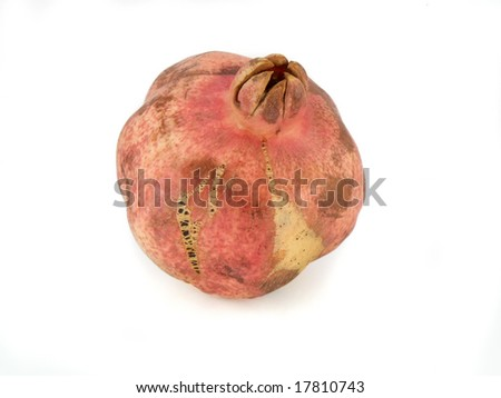 natural pomegranate on white background