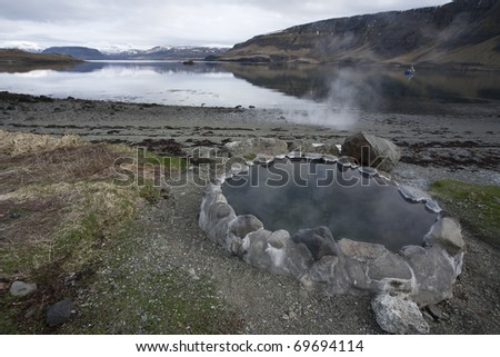Natural pool in Hvalfjordur, Icealnd - stock photo