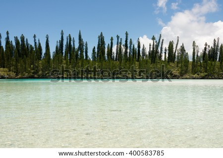Natural Pool on the Isle of Pines in New Caledonia. Natural Pool is known as one of the most famous snorkeling points in the world. - stock photo