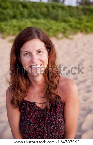 natural pretty woman on beach - stock photo