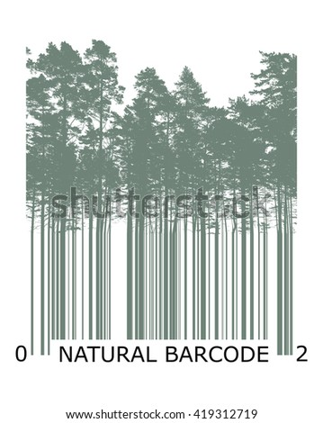 Natural product bar code concept with trees silhouettes - stock photo