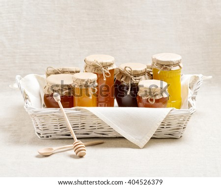 Natural product. Different types of honey. Selective focus. - stock photo