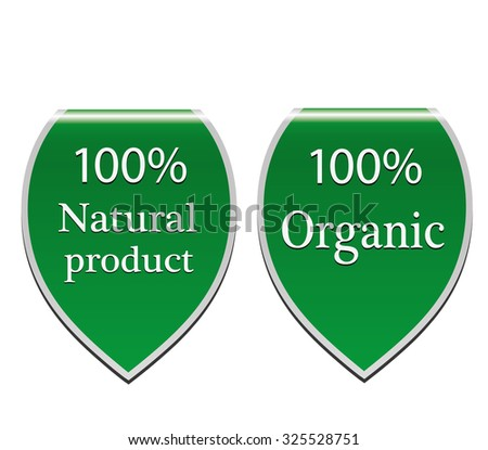 Natural product organic stickers set - stock photo
