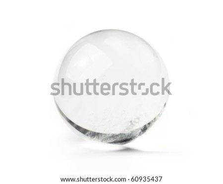 Natural quartz crystal ball - used for fortune telling. Isolated on white. - stock photo
