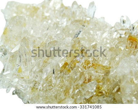 natural quartz semigem geode crystals geological mineral isolated  - stock photo
