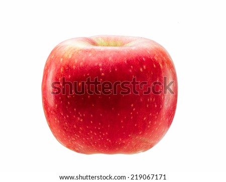 Natural red apple isolated on white background.