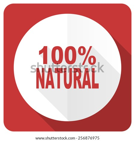 natural red flat icon 100 percent natural sign  - stock photo