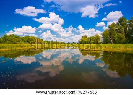 natural reflections on a lake and beautiful clouds - stock photo