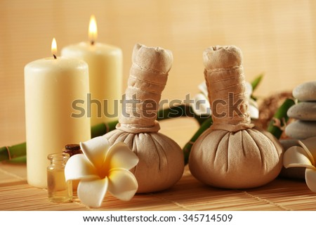 Natural relaxing spa composition  on wicker background - stock photo