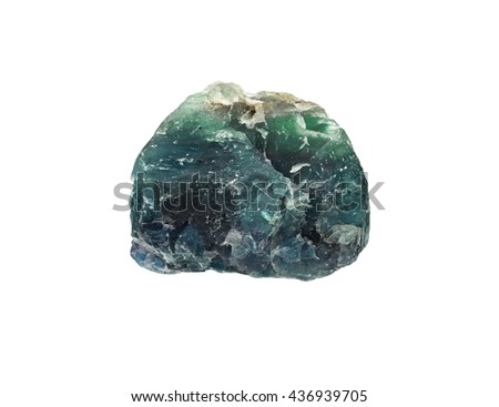 Natural rock - blue green Apatite gemstone on background