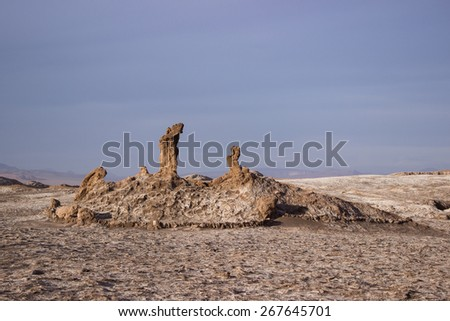 Natural rock monument at the desert on a moon landscape. Moon Valley, Atacama desert, Chile
