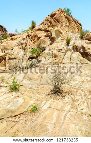 natural rock pattern in the Grapevine Hills section of Big Bend National Park - stock photo