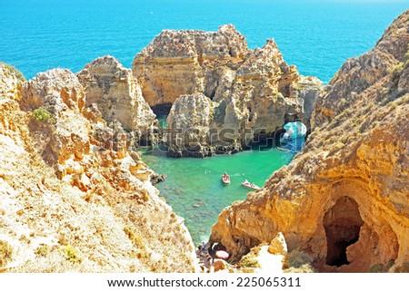 Natural rocks near Lagos in Portugal - stock photo