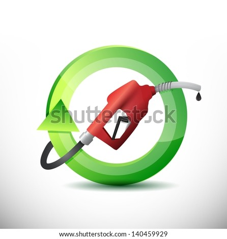 natural rotating with a gas pump nozzle illustration design over a white background - stock photo