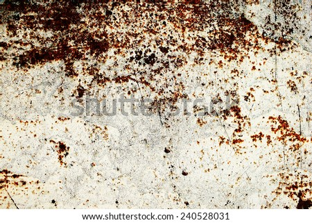 natural rusty metal with old cracked paint of different colors and shades - stock photo