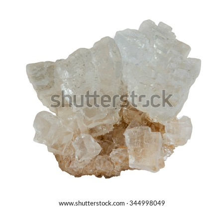 Natural salt crystals isolated on white - stock photo
