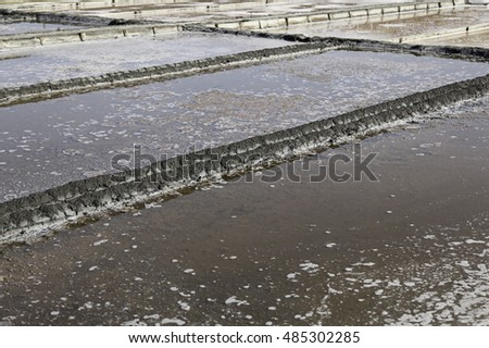 Natural salt mines, detail extraction of salt, water