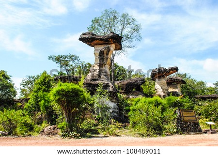 Natural scene: Mushroom stone with plant environment and bright sky at Pha Taem national park in Ubon Ratchathani province, Thailand - stock photo