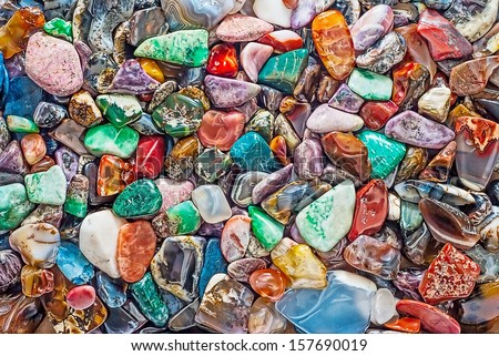 Natural semiprecious stones and other minerals - stock photo